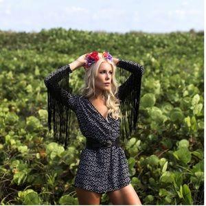 H&M ❤️ Coachella Black & White Fringed Romper